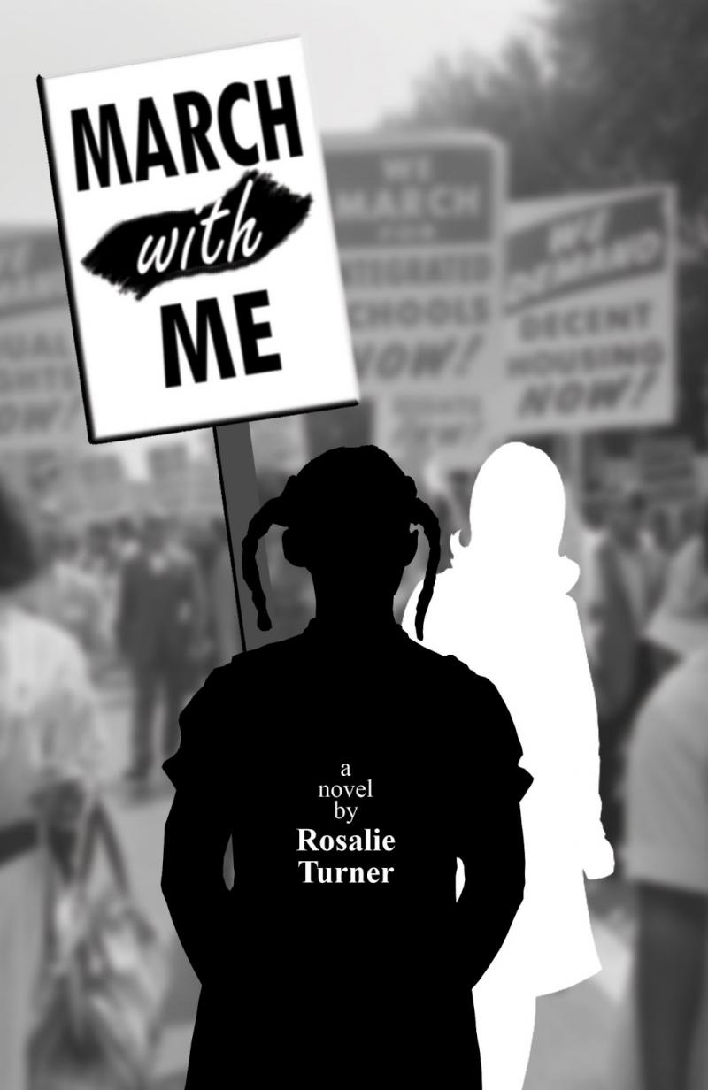 Book cover - black and white images in relief carrying protest sign with book title written on it