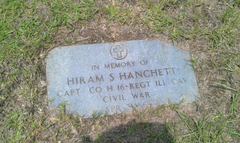 Memorial marker for Hiram Hanchett