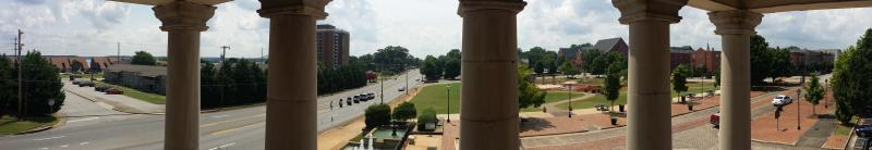 The view from the second story of the Old State Bank Building.