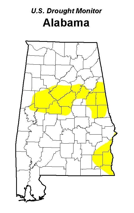 Yellow represents abnormally dry conditions