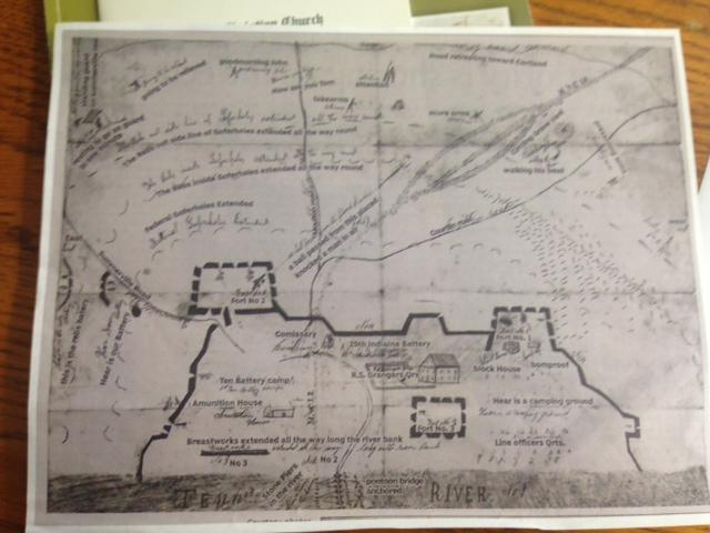 A layout of the fort in Decatur and the battleground area.