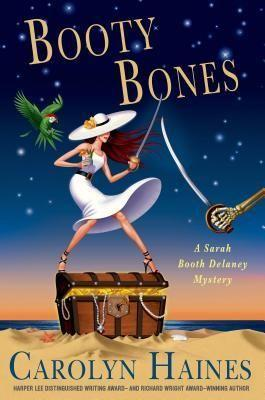 Colorful drawing of woman in white dress with large white hat fencing with a skeleton's arm atop a pirate's chest on a sandy beach.