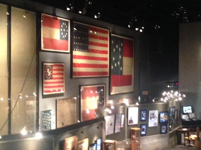 Flags that flew over various ships during the Civil War.