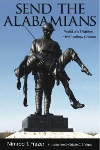 Book cover featuring World War I Alabama memorial statue of serviceman carrying fallen comrade.