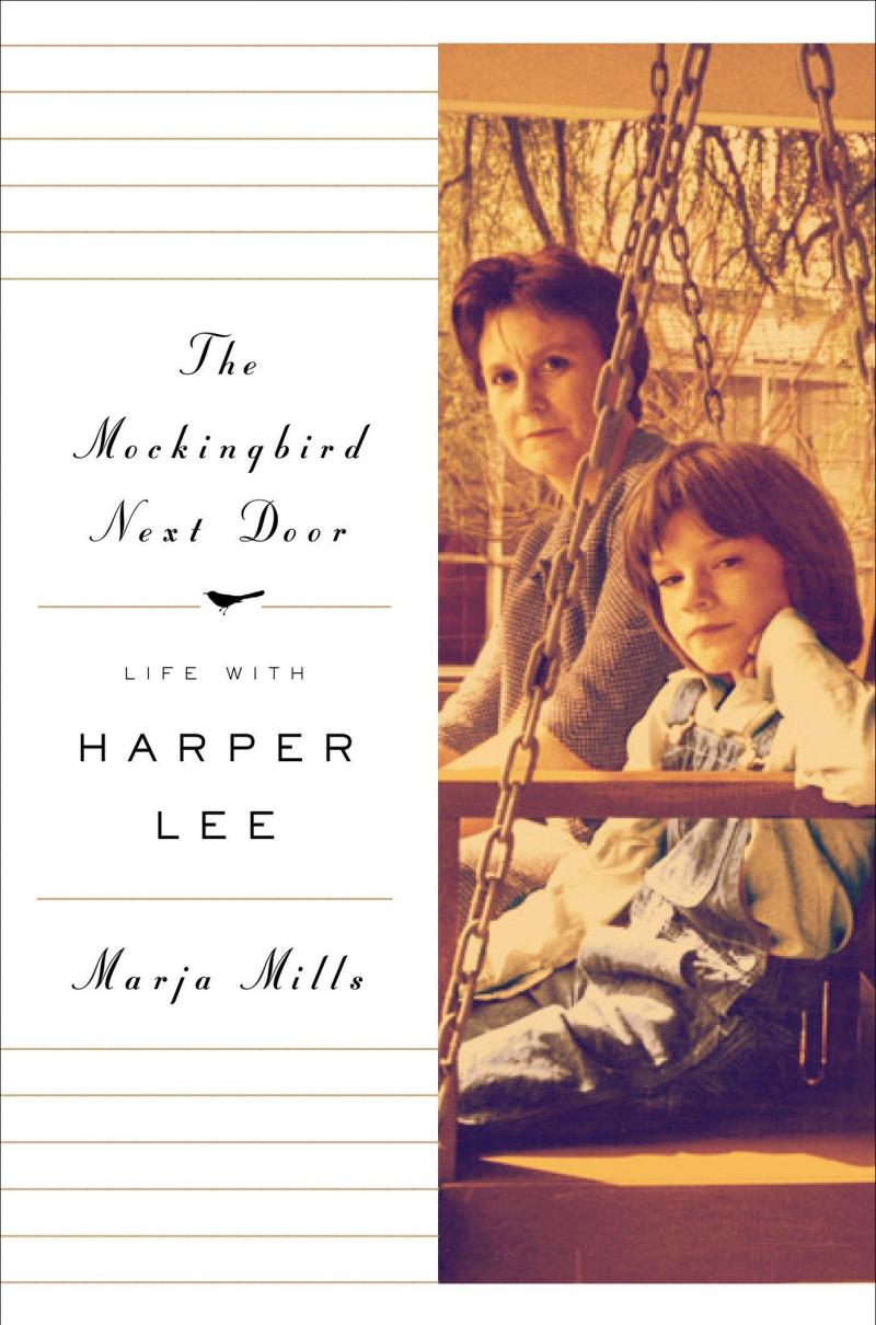 "Old photo of Harper Lee on swing with child actor Mary Badham - who played ""Scout"" in ""To Kill a Mockingbird"""