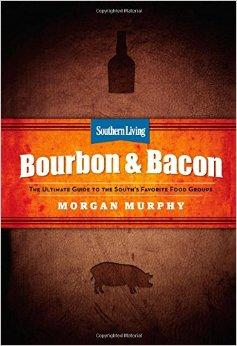 Book cover:  Title in the center with drawings of a bottle of bourbon at the center top and a large pig at the center bottom