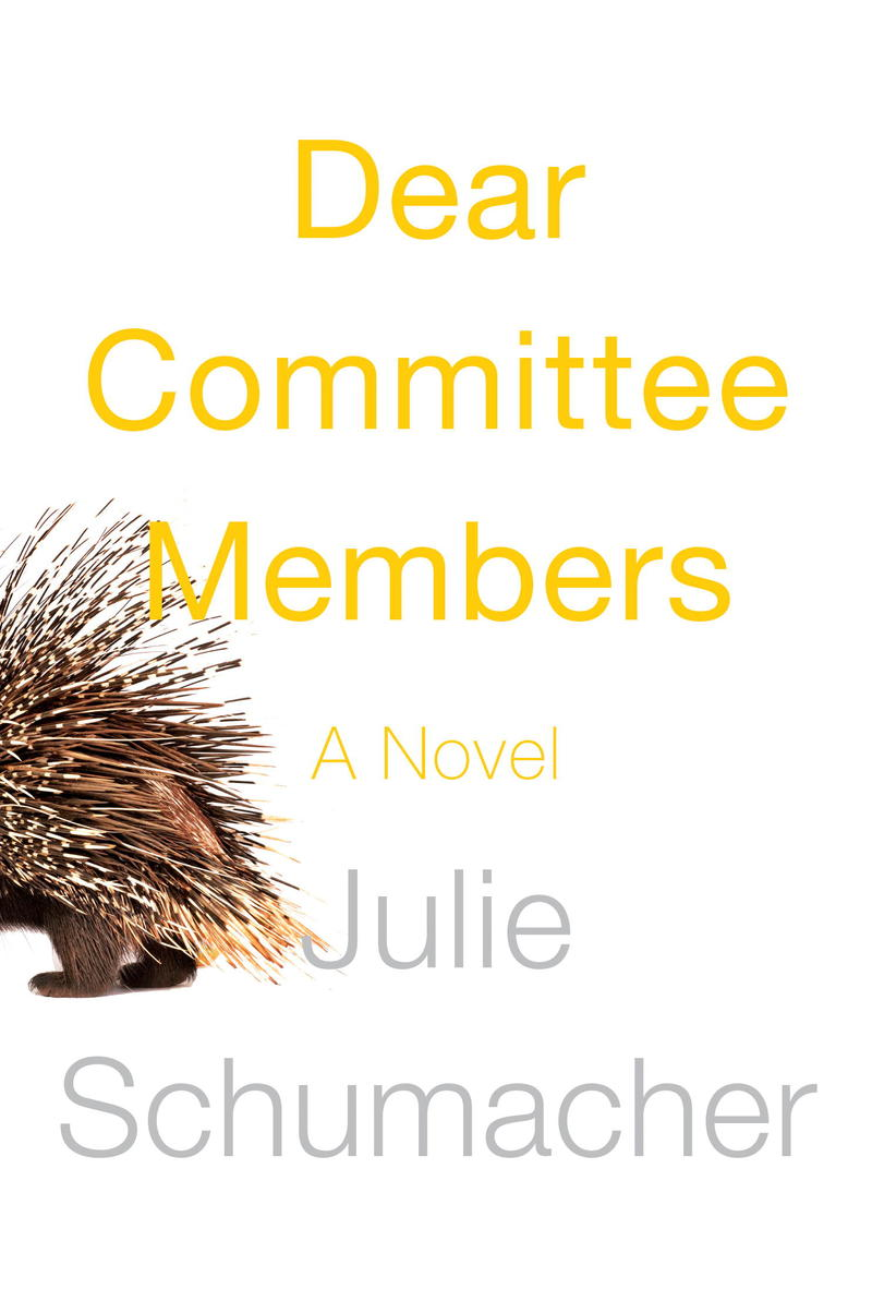 White background with yellow title and a picture of porcupine walking off the edge of the book - you can only see his back legs