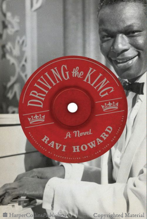 Black and white photograph of Nat King Cole with old-fashioned record label in the center with red background and silver lettering spelling out the book title and author