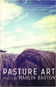 Book cover with a picture of a blue sky, white clouds and large stacks of rolled hay in the foreground