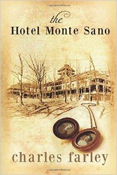 Sepia colored drawing of the Hotel Monte Sano located behind barren trees.  At the bottom of the drawing is an old locket holding two black and white Victorian-era pictures