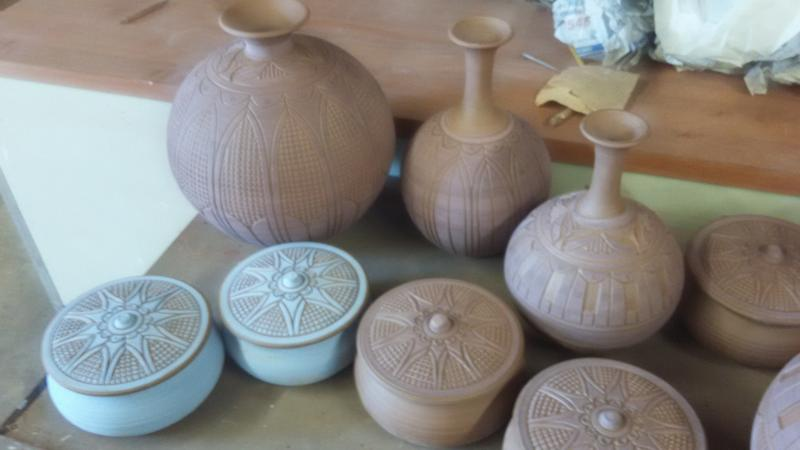 Pots being made at Earth Born