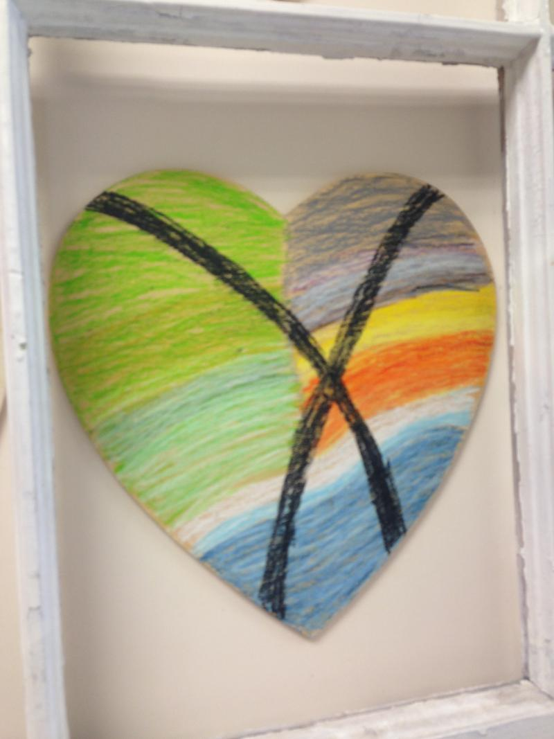 Second heart painted by the same survivor at the SANE Center in Birmingham one year later