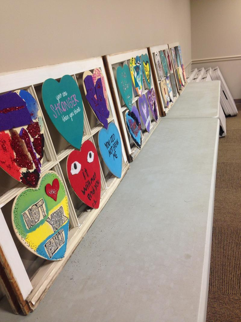 More hearts painted by survivors at the SANE Center in Birmingham