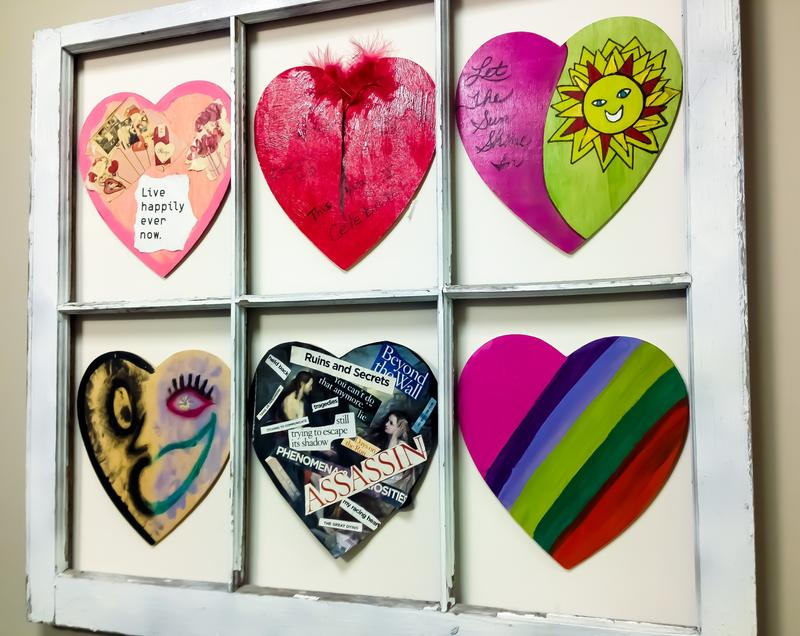 Hearts painted by survivors at the SANE Center in Birmingham