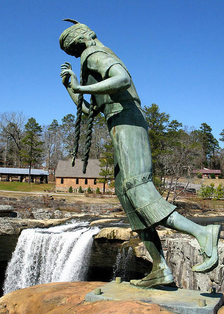 This statute of princess Nocculula is poised at the brink of Nocculula Falls in Gadsden. By legend, a native American princess jumped to her death here, rather than marry a man she's didn't love.