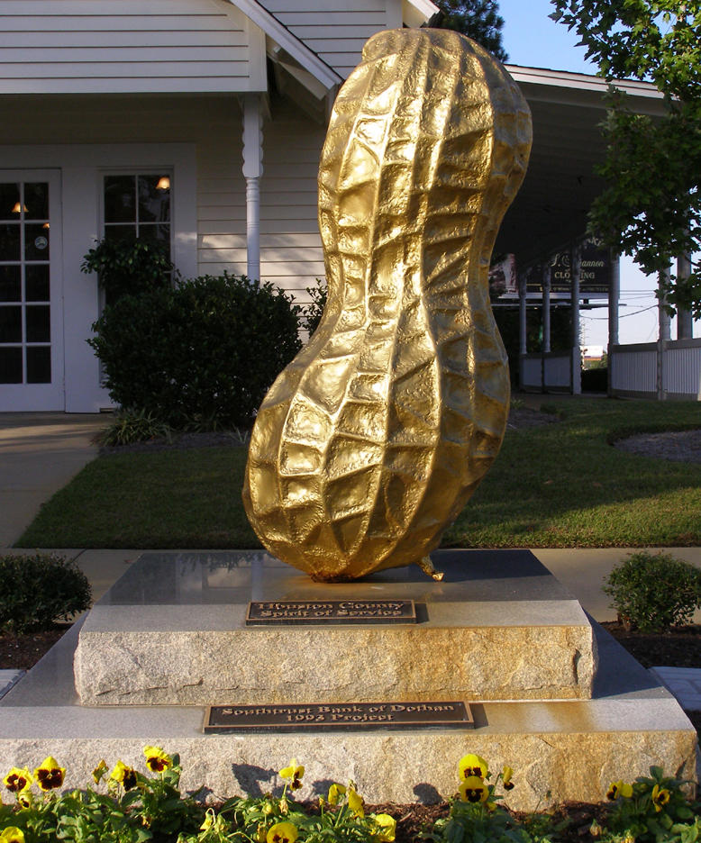 "This ""Golden Peanut"" statute resides at the Dothan Visitors' Center. Dothan bills itself as the ""peanut capitol"" of the world."