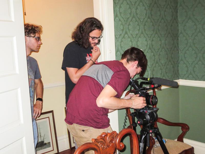 Student videographers Jeb Brackner, Reagan Wells, and