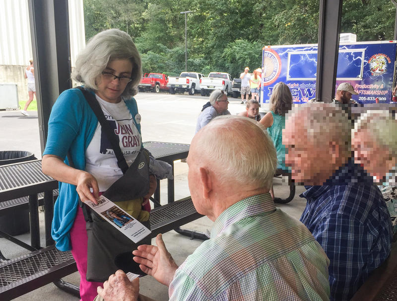 Alabama House District 45 candidate Jenn Gray meets voters at IBEW's Labor Day Picnic