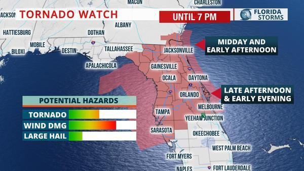 Florida Tornado Map.Tornado Watch North And Central Florida Wusf News