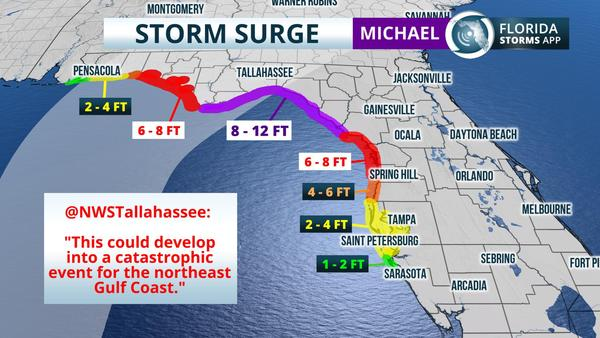 Hurricane Risk Map Florida.Nws Storm Surge From Hurricane Michael Could Be Catastrophic