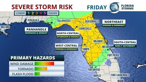 Map Northern Florida.Tornado Flood And Wind Damage Risk In Florida Friday Wgcu News