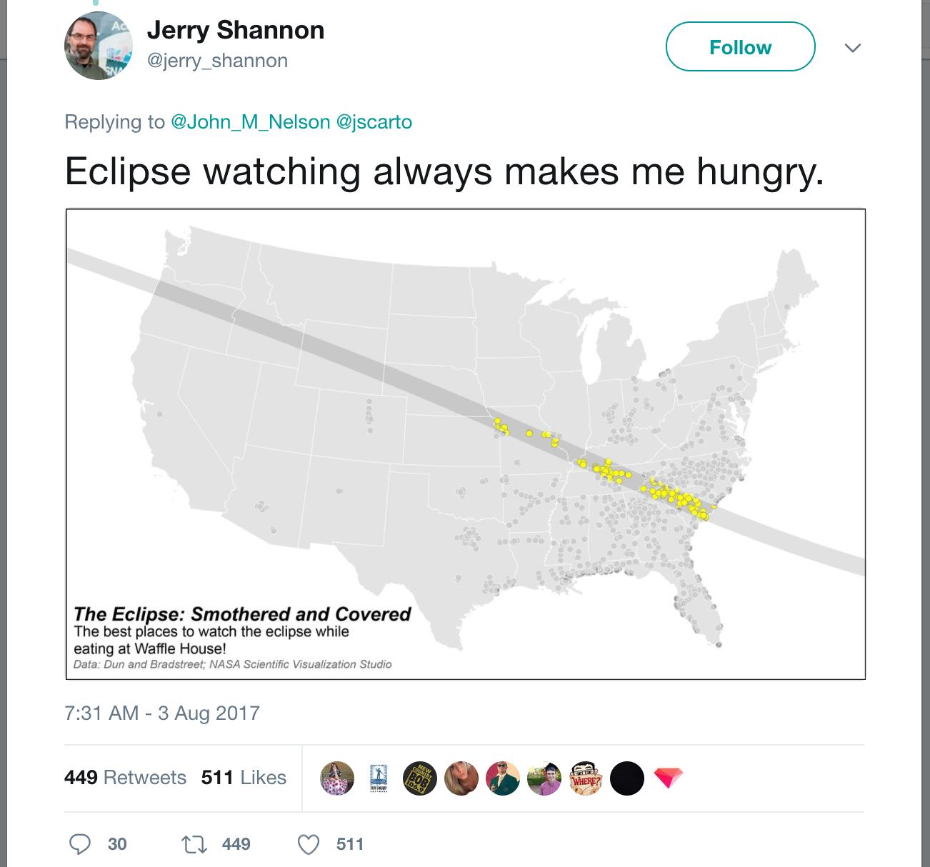UGA Professor Creates Viral Waffle House Eclipse Map   WUGA ...
