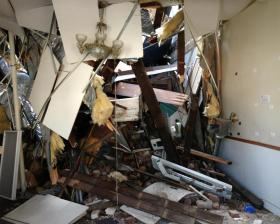 art gallery with collapsed roof in downtown Hannibal