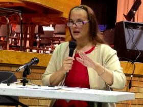 Mary Farnsworth speaking against proposed rule changes at May 6th public hearing in Springfield
