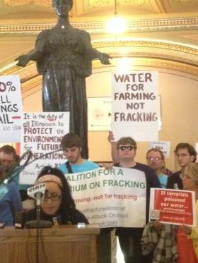 Illinois' fracking regulations divided the environmental community; while those like the Illinois Environmental Council signed on as proponents of the new law, others - like these activists - remain opposed.