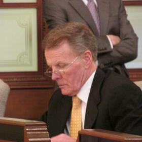 House Speaker Mike Madigan has a front row seat Tuesday during a House committee on pensions, as the General Assembly's poised to form the first conference committee in years.