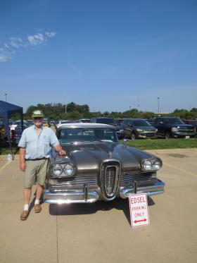 Reg Brown with an Edsel owned by his father, the car's desginer, Roy Brown