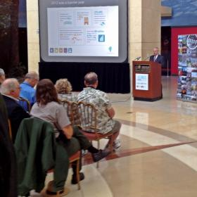 Springfield Mayor Mike Houston talks up the benefits of tourism at the Abraham Lincoln Presidential Library and Museum