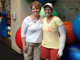 Occupational therapist Wendy Schmitz-Johnson and patient Verna Stallone