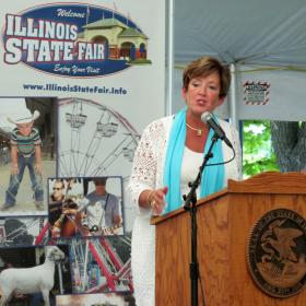 Ilinois State Fair Manager Amy Bliefnick speaks to reporters Aug. 1 at the fairgrounds in Springfield.