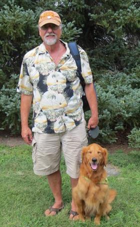 Lee Somerstein & his travel companion Trooper