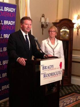 Sen. Bill Brady introduces Maria Rodriguez Tuesday.
