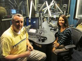 Micah Roderick (left) and Stacy Reed in the WUIS studios