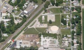 Aerial view of Factory Street in Springfield, where environmental remediation efforts will begin to remove coal tar