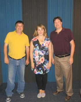 NPR's Kelly McEvers (middle) with WUIS Reporter Bill Wheelhouse (left) and News Director Sean Crawford