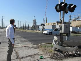 Civil Engineer Jim Moll stands at the site of the future Carpenter Street underpass