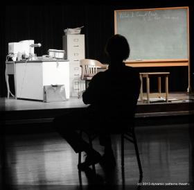 Al Scheider portrays Richard Feynman in QED: A Play, now at the Hoogland Center for the Arts