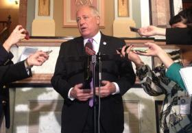 Gov. Pat Quinn speaks to reporters in this file photo.