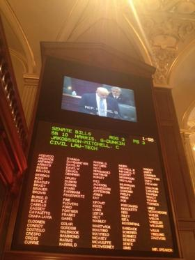 Rep. Greg Harris, D-Chicago, introduces his legislation to allow same-sex couples to marry in Illinois; Senate Bill 10 was the only major issue settled during the General Assembly's fall veto session, which ended Thursday afternoon.