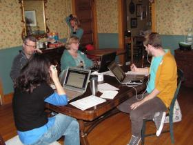 Some of the volunteers making calls during the Macomb phone bank in support of same-sex marriage.
