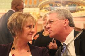 Republican Leaders Sen. Christine Radogno (left) and Rep. Jim Durkin