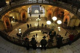 Though unions adamantly oppose the pension legislation, there were no big protests in the Capitol the day of the vote.