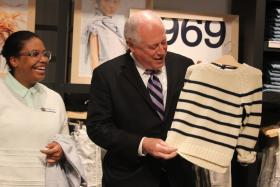 Gov. Pat Quinn shops at the downtown Chicago location of The Gap to promote raising the minimum wage in Illinois.
