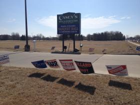 Campaign signs litter the lawn of Springfield's busiest polling place, Knights of Columbus Hall, on Tuesday.