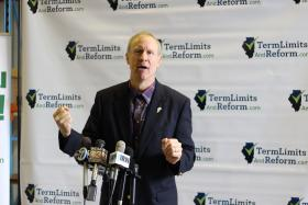Republican gubernatorial candidate Bruce Rauner presents his term limit petition in Springfield on Wednesday.