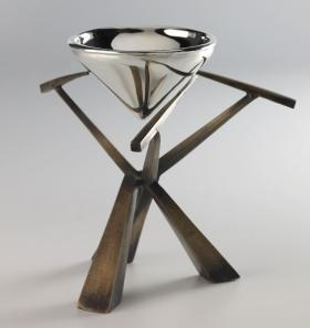 A bronze and silver kiddish cup by Joy Stember